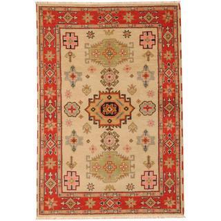 Herat Oriental Indo Hand-knotted Tribal Kazak Beige/ Green Wool Rug (4'7 x 6'9)