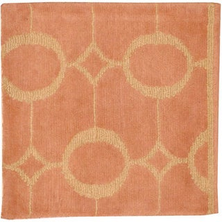 Herat Oriental Indo Hand-knotted Tibetan Salmon/ Ivory Wool Rug (2' x 2')
