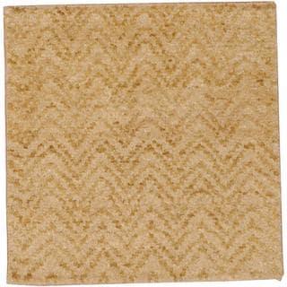Herat Oriental Indo Hand-knotted Tibetan Beige/ Brown Wool Rug (2' x 2')