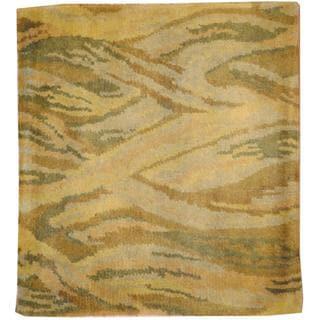 Herat Oriental Indo Hand-knotted Tibetan Gold/ Beige Wool Rug (2' x 2')