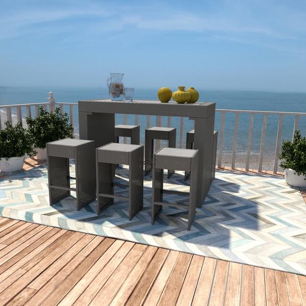 Handy Living Aldrich Grey 7 Piece Indoor/ Outdoor Resin Rattan Barstool/  Table Set