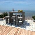 Portfolio Aldrich Grey 7-piece Indoor/Outdoor Resin Wicker Barstool/ Table Set