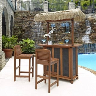 Bali Hai Tiki Bar and Two Stools by Home Styles