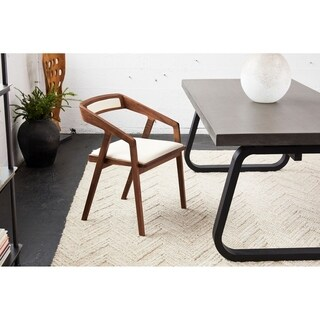 Aurelle Home Aarhus Solid Modern Walnut Arm Chair