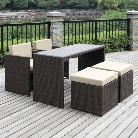 Havenside Home Duxbury Beige 5-piece Indoor/ Outdoor Resin Rattan Set