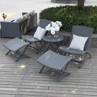 Handy Living Aldrich Grey 5-piece Chair/ Table Resin Rattan Set