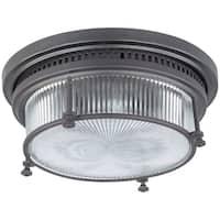 Maxim Clear Halophane Shade 2-light Bronze Hi Bay Flush Mount Light