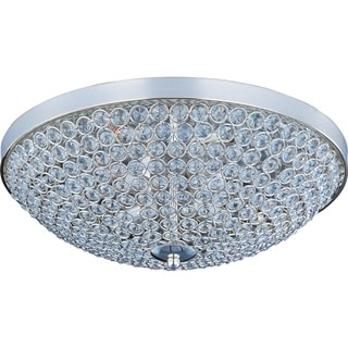 Maxim Beveled Crystal Shade 4-light Silver Glimmer Flush Mount Light