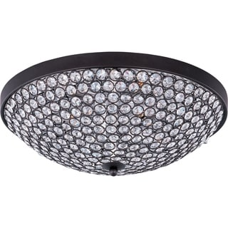 Maxim Beveled Crystal Shade 4-light Bronze Glimmer Flush Mount Light