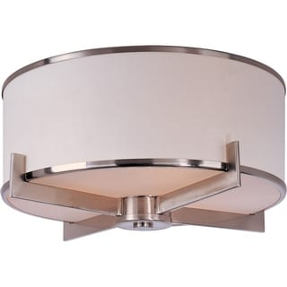 Maxim White Shade 3-light Nickel Nexus Flush Mount Light