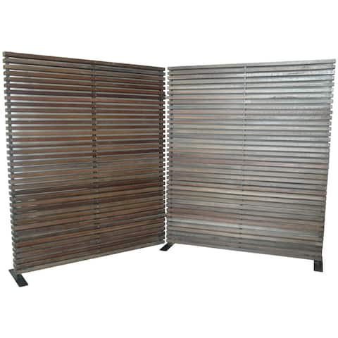 Aurelle Home Wide Brown Wooden Screen