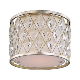 Maxim Off White Linen Shade 1-light Diamond Flush Mount Light