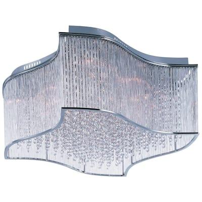 Maxim Clear Shade 20-light Chrome Swizzle Flush Mount Light