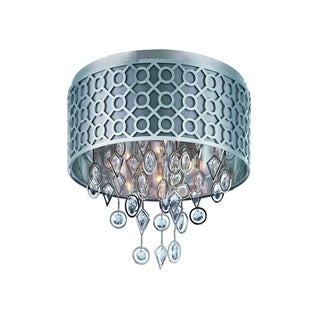 Maxim Slate Fabric Shade 5-light Nickel Symmetry Flush Mount Light
