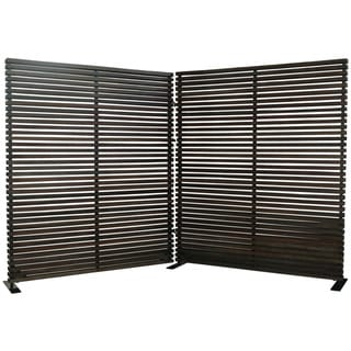 Aurelle Home Large Hard Wood Black Decorative Screen