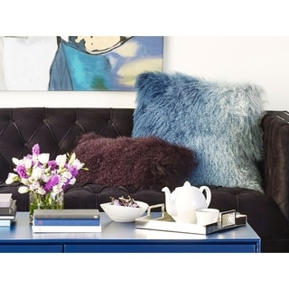 Aurelle Home Lamb Fur Purple Rectangle Throw Pillow