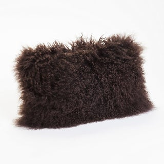 Aurelle Home Lamb Fur Dark Brown Rectangle Throw Pillow