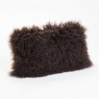 Aurelle Home Soft Mongolian Lamb Brown Throw Pillow