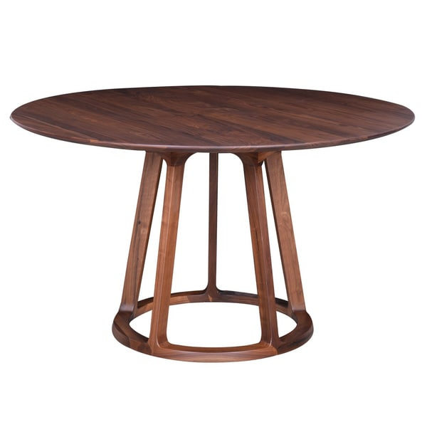 aurelle home round solid american walnut mid century style dining table free shipping today. Black Bedroom Furniture Sets. Home Design Ideas