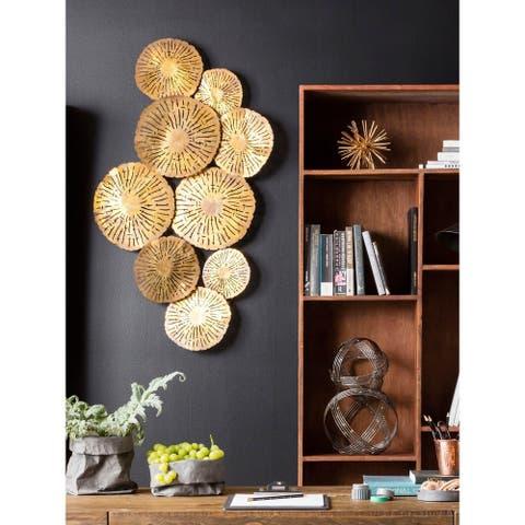 Aurelle Home Large Gold Circles Metal Art Wall Decor