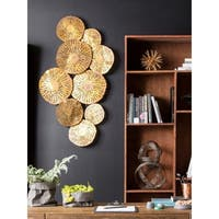 Aurelle Home Large Gold Circles Metal Art Wall Decor