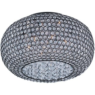 Maxim Bronze Glimmer Beveled Crystal Shade 6-light Flush Mount Light