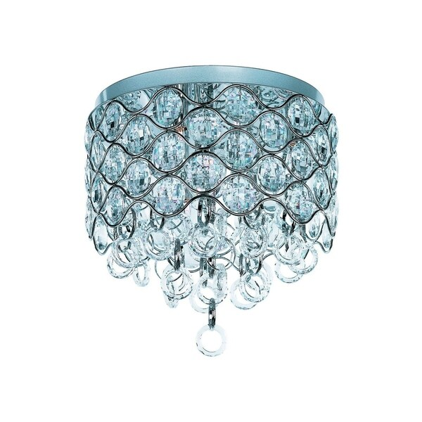 Maxim Beveled Crystal Shade 7-light Chrome Cirque Flush Mount Light