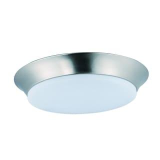 Maxim 1-light White Shade Nickel Profile EE Flush Mount Light