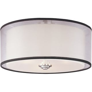Maxim White Shade 3-light Nickel Orion Flush Mount Light