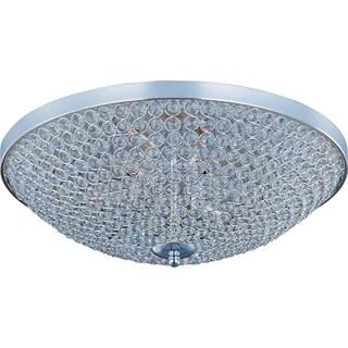 Maxim Beveled Crystal Shade 9-light Silver Glimmer Flush Mount Light
