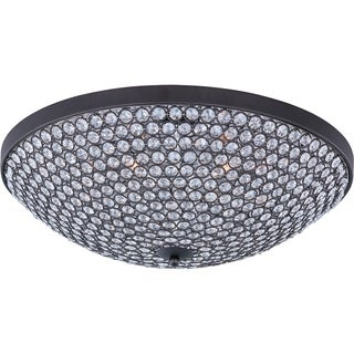 Maxim Beveled Crystal Shade 6-light Bronze Glimmer Flush Mount Light
