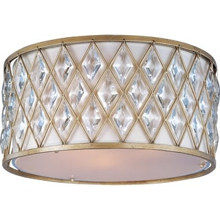 Maxim Off White Linen Shade 3-light Diamond Flush Mount Light