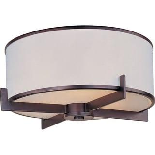 Maxim White Fabric Shade 3-light Bronze Nexus Flush Mount Light