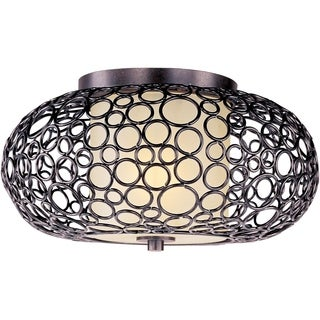 Maxim Dusty White Shade 1-light Bronze Meridian Flush Mount Light