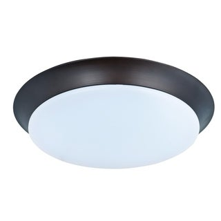 Maxim White Shade 1-light Bronze Profile EE Flush Mount Light