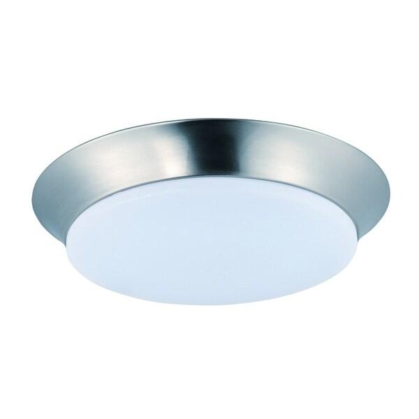 Maxim White Shade 1-light Nickel Profile EE Flush Mount Light