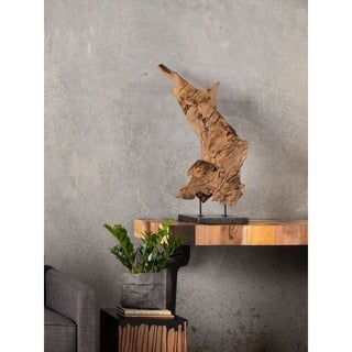 Aurelle Home Medium Natural Teak Wood Sculpture on Black Marble Stand