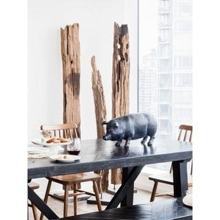 Aurelle Home Hand-Carved Teak Wood Panel on Black Marble Stand