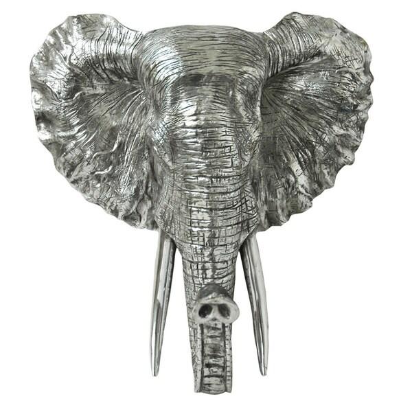 Aurelle Home Silver Elephant Head Wall Decor Free Shipping Today 16974469: silver elephant home decor