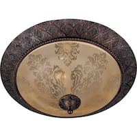 Maxim Screen Amber Shade 2-light Bronze Symphony Flush Mount Light