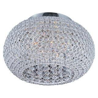 Maxim Beveled Crystal Shade 5-light Silver Glimmer Flush Mount Light