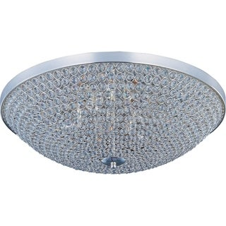 Maxim Beveled Crystal Shade 6-light Silver Glimmer Flush Mount Light