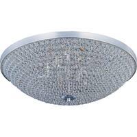 Maxim Beveled Crystal Shade 6-light Silver Glimmer Flush Mount Light