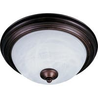Essentials Bronze 2-light Flush Mount Light with Marble Shade