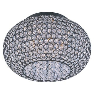 Maxim Beveled Crystal Glass Shade 5-light Bronze Glimmer Flush Mount Light