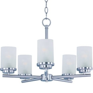 Maxim Frosted Shade 5-light Nickel Corona Single Tier Chandelier