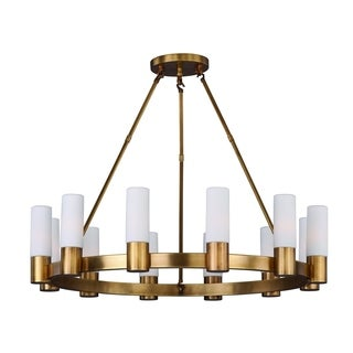 Maxim Satin White Shade 12-light Contessa Single Tier Chandelier