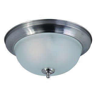 Maxim Frosted Shade 2-light Nickel Flush Mount Light EE Flush Mount Light