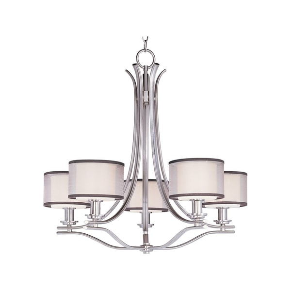 Maxim Satin White Shade 5-light Nickel Orion Single Tier Chandelier