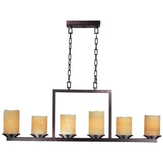 Maxim Stone Candle Shade 6-light Luminous Single Tier Chandelier